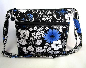Spring Flowers Washable Cross Body Fabric Purse / Zippered Closure