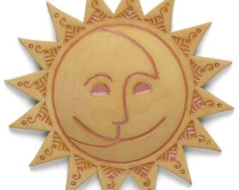 Sun Face, ceramic, wall art, Home Decor, Nature Inspired, hand made, patina finish, one of a kind