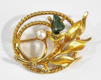 1966 Sarah Coventry Gold Tone with Jade and Pearl Jade Garden Vintage Pin Brooch