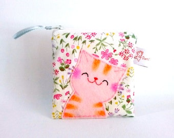 Smiling cat coin purse cute zipper pouch small change purse floral fabric pouch cat lover gift for cat lady for girlfriend sweet purse