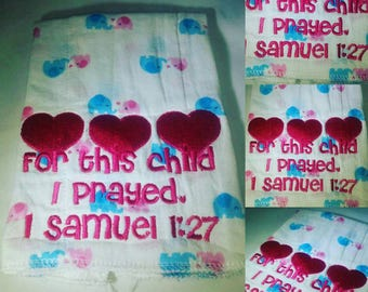 Burp cloth, baby burp cloth, pink and blue burp cloth, elephants,  scripture embroidery, baby item, baby gift