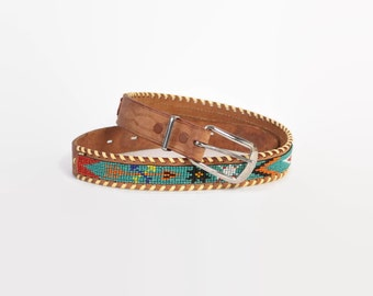 Vintage 70s BELT / 1970s Native Hand Beaded Brown Leather Boho Belt