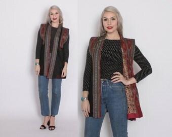 Vintage 90s SILK VEST / 1990s Ethnic Asian Patchwork Silk Long Kimono Waistcoat