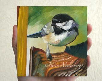 Chickadee original oil painting black-capped chickadee wildlife nature fine art