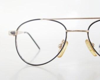 kids wire rim aviator eyeglasses vintage 1980s deadstock glasses eyeglass frames 80s eighties black gold metallic eighties glam rocker