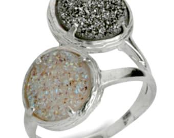 Silver Ring. Designer  925 Sterling  Silver set with druzy quartz stones