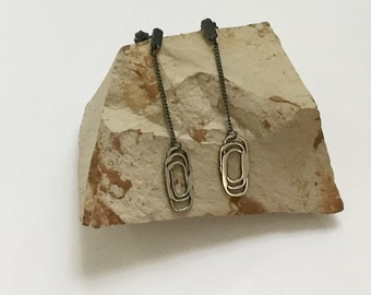 Triplets Argentium Silver Oxidized Drop/Dangle Earrings