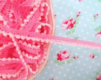 Mini Pom Pom Trim - Bubblegum Pink - Ball Fringe- 3 Yards