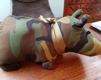 """Stuffed Hippopotamus camo cotton poly blend fabric with a vintage silk tie around his neck  12""""Long 6"""" Tall 4""""-5"""" wide"""