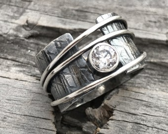 Sterling Silver Ring Sterling Silver CZ Ring Handmade By Wild Prairie Silver Jewelry