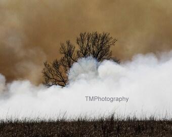 Burning - Burn - Controlled Burn - Surrounded by Smoke - Kansas - Flint Hills - Fire - Prairie Burn - Fine Art Photography