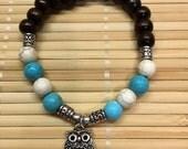 Owl Beaded Wrist Mala Stackable Bracelet Howlite and Turquoise Gemstone Energy Yoga Jewelry