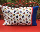 Mickey Mouse Standard Pillowcase, 1 each - mickey heads - disney pillow - mickey pillow sham - disney red white and blue
