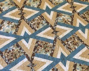 CHERRY BLOSSOM POND Handmade Quilt - Double Diamond Pattern - 52 x 73 - Nellie J Designs - large lap, twin bedding