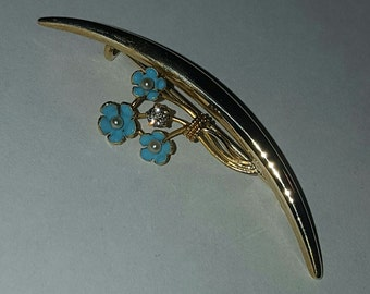 14k Yellow Gold Diamond and Pearl Blue Enamel Forget Me Not Pin or Brooch