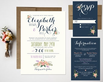 Wedding Invitation Bundle // Cute Floral Invite // RSVP // Casual Wedding Invitation // Fun Wedding Invitation // Whimsical Wedding