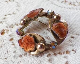 Vintage Light Brown Guilloche / Enamel Leaves and AB / Aurora Borealis Rhinestone Pin / Broach / Brooch, Rhinestones, Gold Tone Metal, Leaf