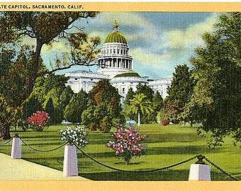 Vintage California Postcard - The California State Capitol, Sacramento (Unused)