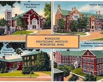 Vintage Massachusetts Postcard - Worcester Polytechnic Institute (Unused)