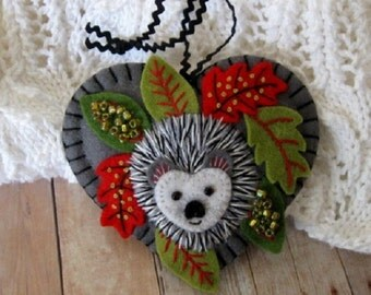 Hedgehog Ornament - Made to Order Embroidered Fiber Art