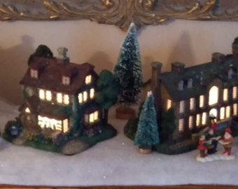6 piece Thomas Kincade Hawthorn Village Houses with accessories