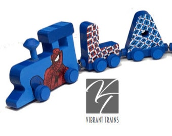 Custom SEVEN LETTER Name Train. Any Style or Design with Engine and Caboose, Hand Painted for you by Vibrant Trains