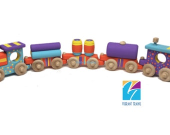 Orange, Blue and Purple Painted Wooden Toy Train Hand Made and Hand Painted FIVE CARS. Ready to Ship today.
