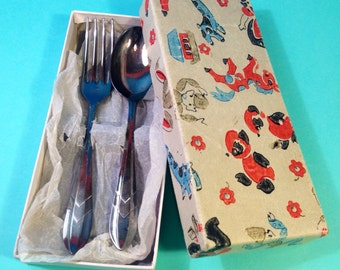 Vintage Childs Cutlery Set - Spoon and Fork - EPNS - Sheffield Cutlery - Electroplated Nickel Silver - Cutlery Gift Set - Christening Gift
