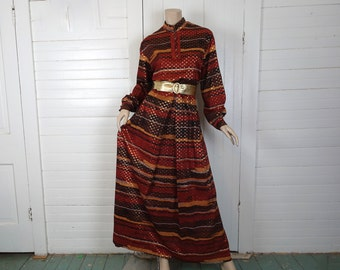 70s Harvest Party Maxi Dress in Rust Brown & Gold-  Hippie / Boho / Festival / Gypsy / Witch / Disco- 1970s- Medium Large