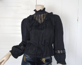 70s Gothic Gypsy Blouse- 1970s Black Victorian Peasant Top- Small- High Neck