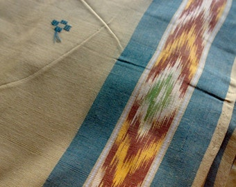 Beige Ikat Saree Fabric, Handmade Ikkat Fabric By The Yard, Handloom Cotton Saree Fabric, Ecru Blue Burgundy Fabric,Indian Woven Ikat Fabric