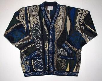 COOGI Australia MEDIUM Cardigan Sweater Mercerised Cotton, Horses Jester Faces Paisley Geometric Rare Pattern, Navy Tans Black size Mens M