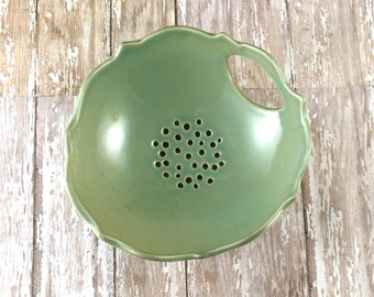Pottery Berry Bowl with Saucer - Soft Green Berry Strainer - 721
