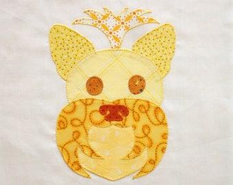 Handmade Yellow Yorkie Appliqued Quilt Block