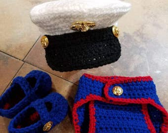 Marines Dress Blues Inspired Photo Prop for Baby