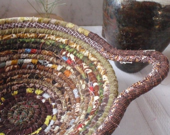 Brown Gypsy Coiled Fabric Basket - Earthy Catchall, Organizer, Handmade by Me