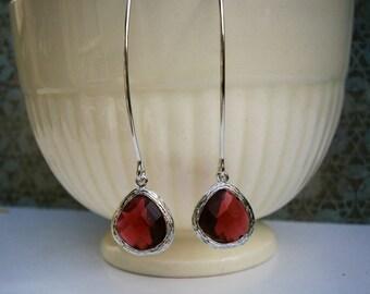 Ruby Earrings, Silver Earrings, Wife Gift, Girlfriend, Best Friend, Mom, Sister, Daughter, Mother