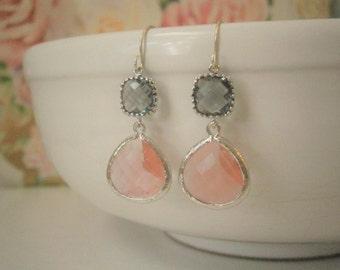 Coral Gray Wedding, Coral Earrings, Grey Earrings, Silver Earrings, Bridesmaid Gift, Best Friend Birthday