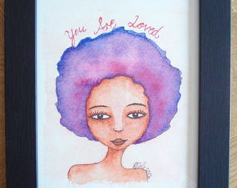 African American Artwork Print 'You Are Loved', A4 Size, Unframed