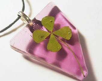 Real Four Leaf Clover  Resin  Nature Necklace Pendant Bohemian Jewelry Green 4 Leaf Lucky Purple