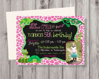 DIGITAL Reptiles and Snakes Glitter & Chalkboard Pink Birthday Girl Printable Photo Party Invitation