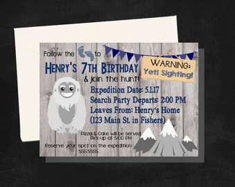 DIGITAL Yeti (Big Foot or Sasquatch) Birthday Boy Party Invitation