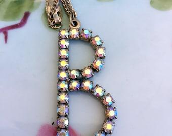 "Rhinestone Letter ""B"" Initial Monogram  necklace Pendant."