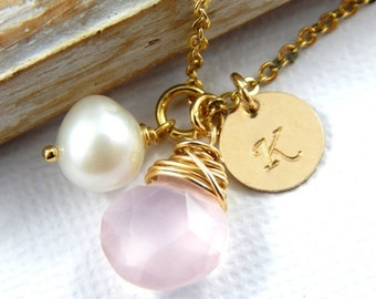 Christmas Sale Chalcedony Necklace, Pink Chalcedony necklace, Gold Filled Necklace, Initial Necklace