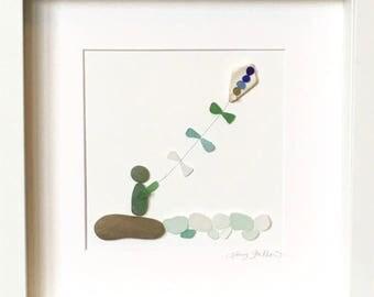Irish Sea Glass Wall Art - The Kiteflyer (Boy)