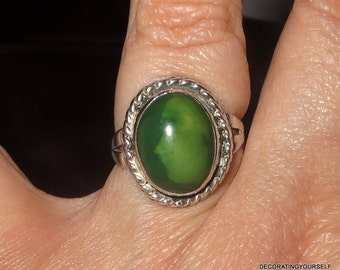 Native American Green Turquoise Ring Sterling Silver Size 7