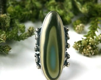 RESERVED - Leaves of Spring - Imperial Jasper Sterling Silver Ring