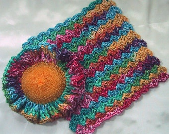 Country Kitchen Set 2 Piece Ruffled Scrubber & Dish Cloth - Bright Multi-Color Hues - Crocheted Cotton Yarn - Hostess Gift - Spring Cleaning