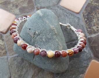 Mookaite Jasper Gemstone & Silver Wire Wrapped Bangle Bracelet