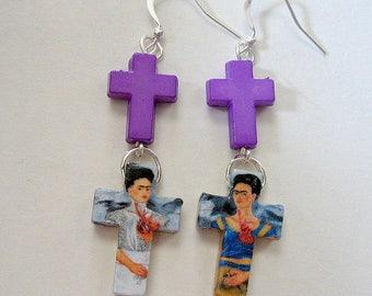 Frida Kahlo earrings mexicana aretes crosses asymmetrical tribal Day of the dead collectible latin hispanic culture arte